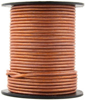 Copper Metallic Light Round Leather Cord 2.0mm 10 meters (11 yards)