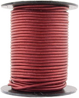 Red Metallic Round Leather Cord 2.0mm 10 meters (11 yards)