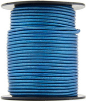 Blue Metallic Round Leather Cord 1.0mm 100 meters