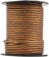 Bronze Metallic Round Leather Cord 1.0mm 100 meters