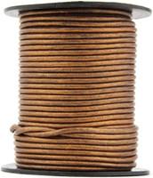 Bronze Metallic Round Leather Cord 2.0mm 10 meters (11 yards)