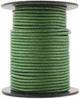 Green Metallic Round Leather Cord 2.0mm 10 meters (11 yards)