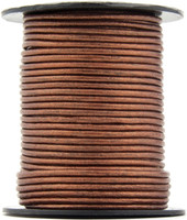 Copper Metallic Round Leather Cord 2.0mm 100 meters
