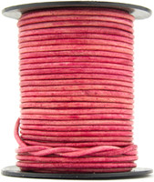 Pink Natural Dye Round Leather Cord 1.0mm 100 meters
