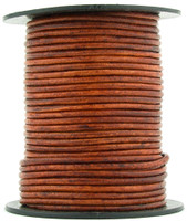 Brown Distressed Red Round Leather Cord 1.0mm 100 meters