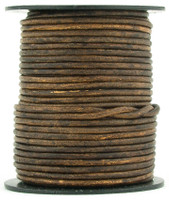 Brown Antique Round Leather Cord 2.0mm 25 meters (27 yards)