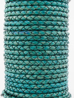 Turquoise  Natural Dye Genuine Round Bolo Braided Leather Cord 3 mm 1 Yard