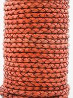 Orange Natural Dye Genuine Round Bolo Braided Leather Cord 3 mm 1 Yard