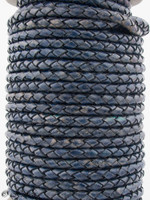 Midnight Blue Natural Dye Genuine Round Bolo Braided Leather Cord 3 mm 1 Yard