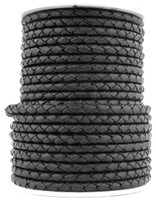 Black Natural Dye Genuine Round Bolo Braided Leather Cord 4 mm 1 Yard