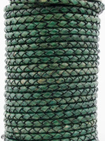 Green Natural Dye Genuine Round Bolo Braided Leather Cord 4 mm 1 Yard