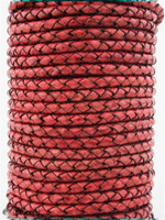 Hot Pink Natural Dye Genuine Round Bolo Braided Leather Cord 4 mm 1 Yard
