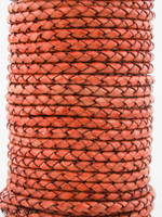 Orange Natural Dye Genuine Round Bolo Braided Leather Cord 4 mm 1 Yard
