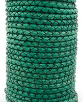 Sea Green Natural Dye Genuine Round Bolo Braided Leather Cord 4 mm 1 Yard