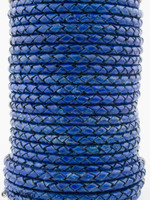 Royal Blue Natural Dye Genuine Round Bolo Braided Leather Cord 5 mm 1 Yard