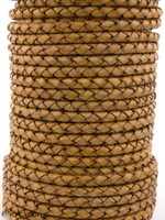 Mustard Natural Dye Genuine Round Bolo Braided Leather Cord 5 mm 1 Yard