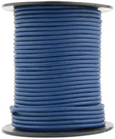 Blue Natural Dye Round Leather Cord 1.0mm 25 meters
