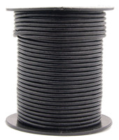 Black Round Leather Cord 1.0mm 100 meters