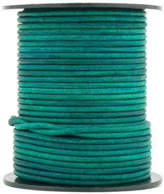 Turquoise Natural Dye Round Leather Cord 1.5mm 10 Feet