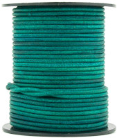 Turquoise Natural Dye Round Leather Cord 1.5mm 10 meters (11 yards)