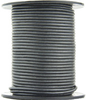 Gunmetal Metallic Gray Round Leather Cord 1.0mm 25 meters