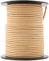 Beige Round Leather Cord 1.0mm 100 meters