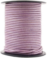 Lilac Metallic Round Leather Cord 1.0mm 100 meters