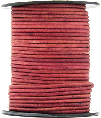 Pink Fuchsia Natural Dye Round Leather Cord 1.5mm 10 meters