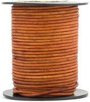 Brown Light Natural Dye Round Leather Cord 1.5mm 25 meters