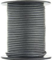 Gunmetal Metallic Gray Round Leather Cord 2.0mm 25 meters