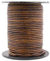 Brown Antique Natural Dye Round Leather Cord 2.0mm 25 meters (27 yards)