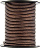 Brown Metallic Round Leather Cord 3.0mm 10 meters (11 yards)