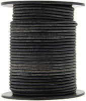 Gray Distressed Natural Dye Round Leather Cord 2.0mm 50 meters