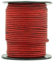 Red Natural Dye Round Leather Cord 1.0mm 50 meters