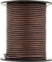 Brown Metallic Round Leather Cord 1.0mm 10 meters (11 yards)