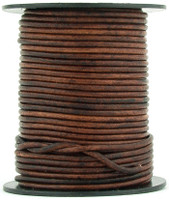 Brown Distressed Round Leather Cord 1.0mm 50 meters