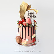 pink gold birthday drip cake