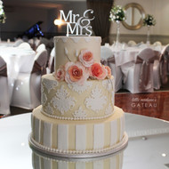 neutral patterned wedding cake