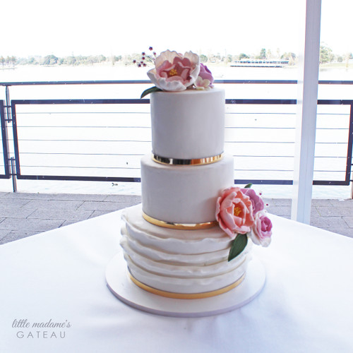 Classic White Wedding Cake with Gold and Sugar Flowers