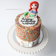 little mermaid on hundreds thousands cake