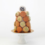 white and brown macaron tower
