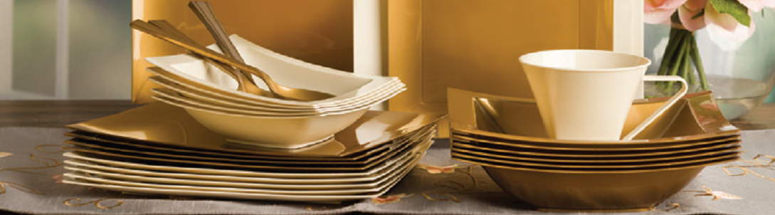 Gold Disposable Plastic Plates and Bowls