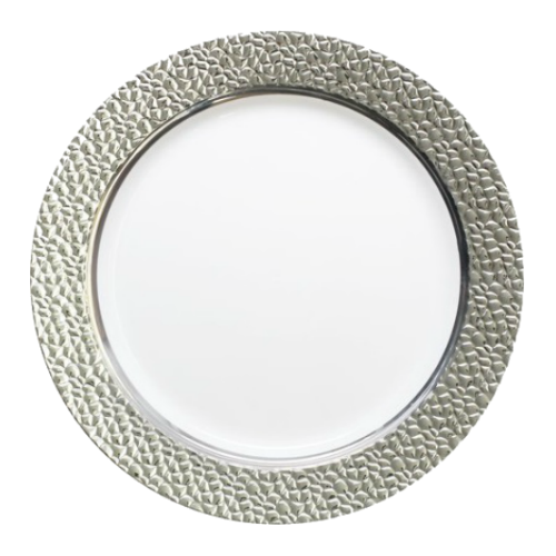 Decor China Like Hammered 9 Quot White Silver Plastic Plates Plastic Dishes Partytrends