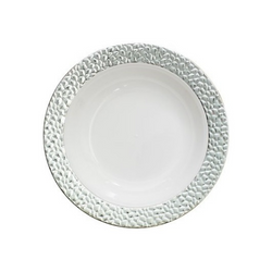 Decor Hammered style. Looks like real china and porcelain! Perfect for weddings and special events. Sold in retail bulk and wholesale.