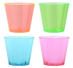 Hard disposable neon plastic shot cups great for weddings and other special events. Sold in wholesale bulk and retail.