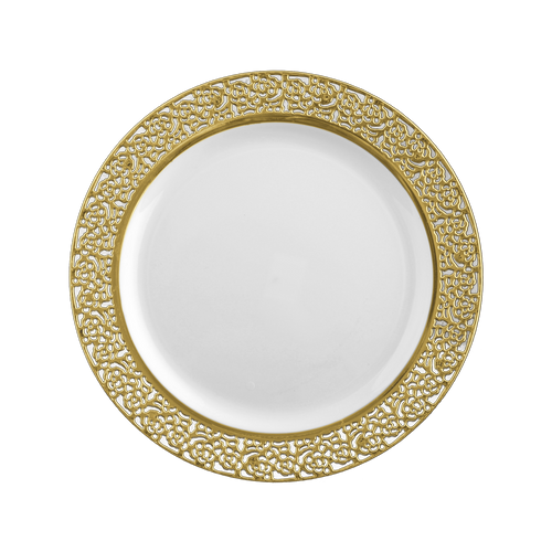 Decor Inspiration lace style. Cut out edges add a very nice touch. Looks like real china and porcelain! Perfect for weddings and special events. Sold in retail bulk and wholesale.