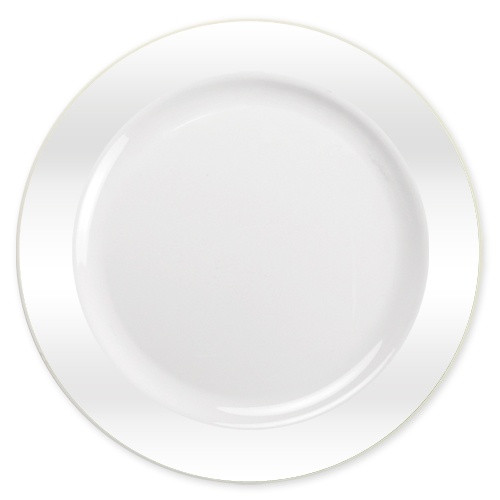 Lillian elegant round disposable plates. Perfect for a classy dinner parties or weddings. These plates are made from heavyweight plastic. Sold in wholesale bulk and retail.