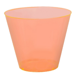 Quenchers 9 oz. Neon Orange Old Fashioned Plastic Tumblers