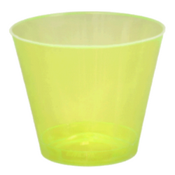 Quenchers 9 oz. Neon Yellow Old Fashioned Plastic Tumblers