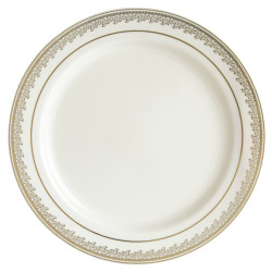 "Decor China-Like Prestige 10.25"" Cream-Gold Plastic Plates"